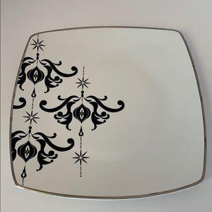 Black White silver 10 in Serving Ceramic Plate